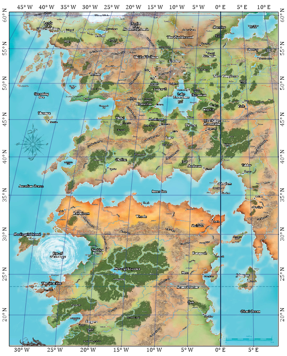 Dungeonetics golarion geographical maps the graticule assumes the original map from paizo uses a mollweide projection graticule lines are 5 apart and the top of the map is just above 60 n gumiabroncs Gallery